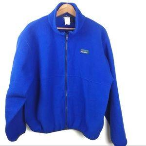 LL Bean Fleece Jacket Vintage Blue Zip Front 90s